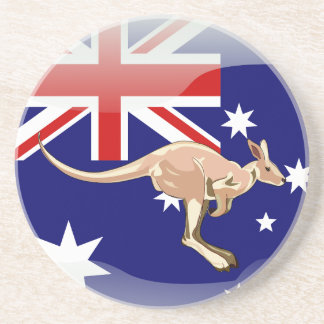 Australian glossy flag drink coasters