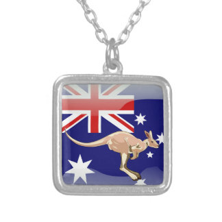 Australian glossy flag silver plated necklace