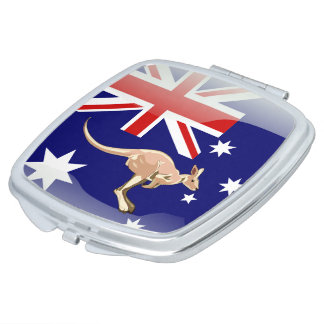 Australian glossy flag travel mirror