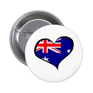 AUSTRALIAN HEART FLAG 6 CM ROUND BADGE