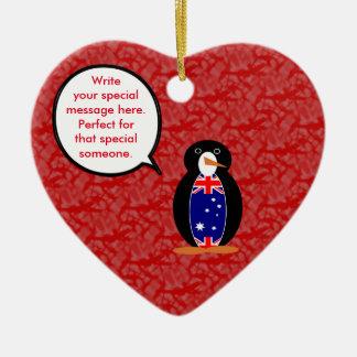 Australian Holiday Mr. Penguin Ceramic Heart Decoration