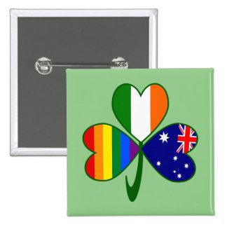 Australian Irish Gay Pride Shamrock 15 Cm Square Badge