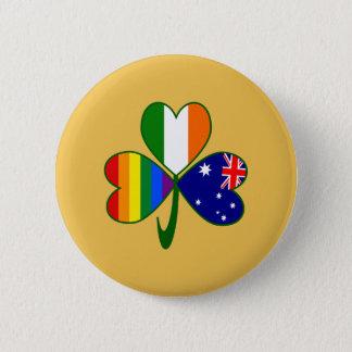Australian Irish Gay Pride Shamrock 6 Cm Round Badge