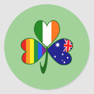 Australian Irish Gay Pride Shamrock Classic Round Sticker