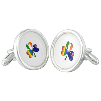 Australian Irish Gay Pride Shamrock Cufflinks