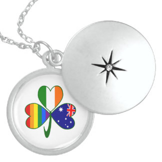 Australian Irish Gay Pride Shamrock Sterling Silver Necklace