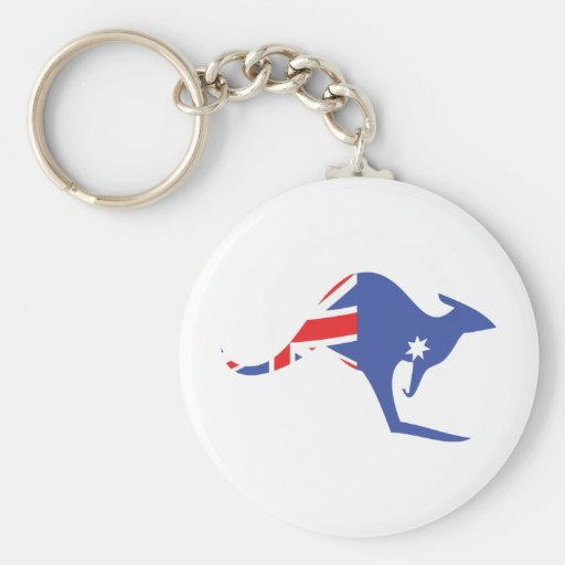 australian kangaroo basic round button key ring