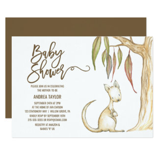 Australian Kangaroo & Joey Neutral Baby Shower Card