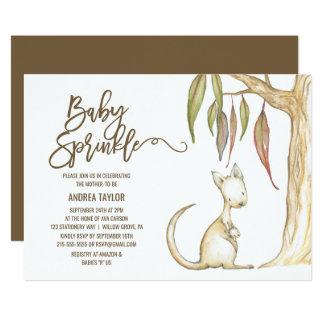 Australian Kangaroo & Joey Neutral Baby Sprinkle Card