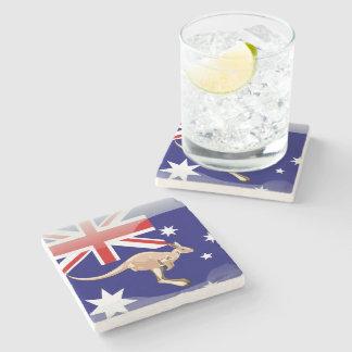 Australian kangaroo stone beverage coaster