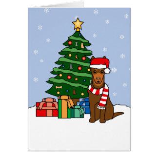 Australian Kelpie and Christmas Tree Card