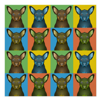 Australian Kelpie Dog Cartoon Pop-Art Poster