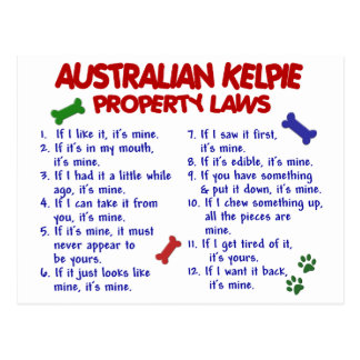 AUSTRALIAN KELPIE Property Laws 2 Postcard