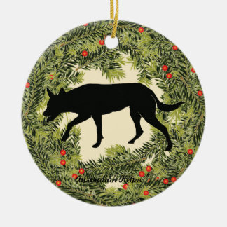 Australian Kelpie Wreath Ceramic Ornament