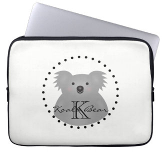 Australian Koala Bear Cute Add Your Name Monogram Laptop Sleeve