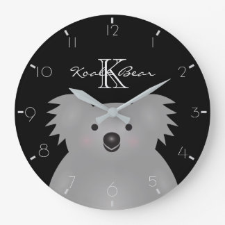 Australian Koala Bear Cute Add Your Name Monogram Large Clock