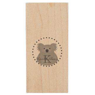 Australian Koala Bear Cute Add Your Name Monogram Wood USB Flash Drive