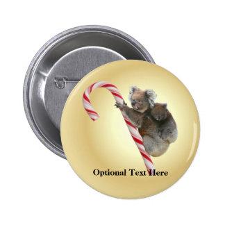 Australian Koala Christmas Candy Cane 6 Cm Round Badge