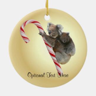 Australian Koala Christmas Candy Cane Ceramic Ornament