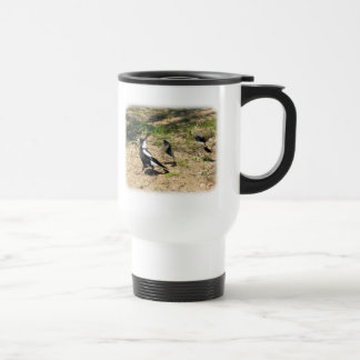 Australian Magpie mobbed by Willie Wagtails 9P28D- Stainless Steel Travel Mug