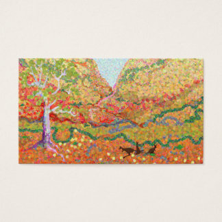 Australian outback landscape art with kangaroos business card