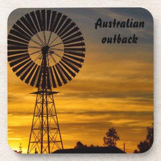 Australian outback windmill sunset coaster set