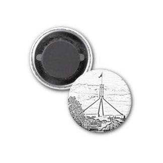 Australian Parliament - Canberra 3 Cm Round Magnet