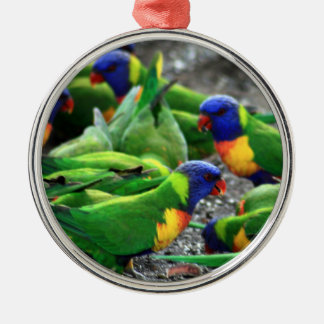 Australian Rainbow Lorikeets Silver-Colored Round Decoration