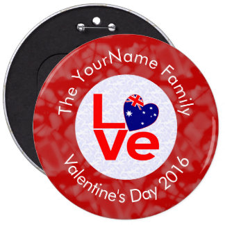 Australian Red LOVE Flag White Red 6 Cm Round Badge