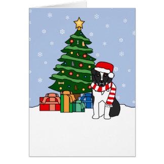 Australian Shepherd and Christmas Tree Greeting Card