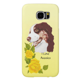 Australian Shepherd and Yellow Roses S6 Samsung Galaxy S6 Cases