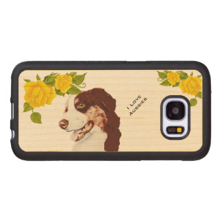 Australian Shepherd and Yellow Roses S7 Wood Samsung Galaxy S7 Case