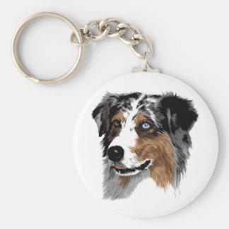 Australian Shepherd Basic Round Button Key Ring