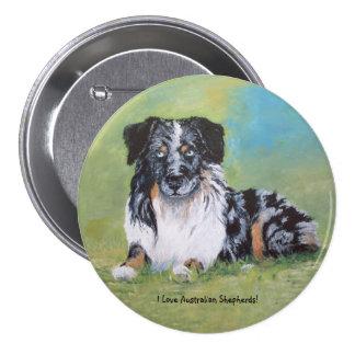 Australian Shepherd, beautiful blue merle! 7.5 Cm Round Badge