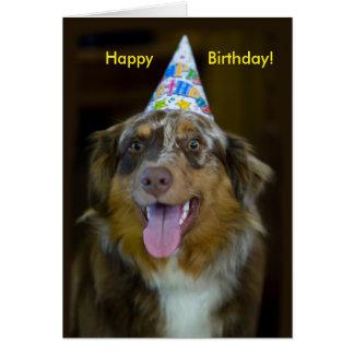Australian Shepherd Birthday Party Dog Card