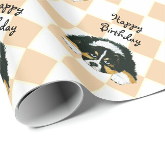 Australian Shepherd Black Tri Puppy - argyle Wrapping Paper