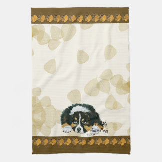 Australian Shepherd Black Tri Puppy ~Tan Leaves Tea Towel