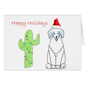 Australian Shepherd Blue Cactus Christmas Greeting Card