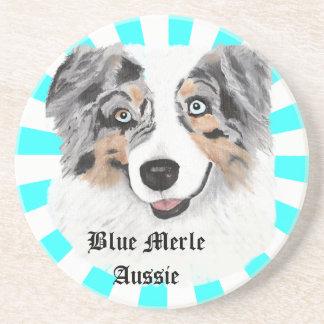 Australian Shepherd - Blue Merle Portrait Drink Coasters