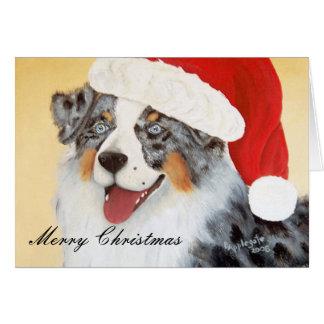 Australian Shepherd ~ Blue Merle with Santa Hat Card