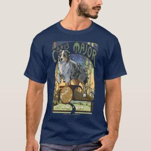 Australian Shepherd Canis Major Constellation T-Shirt