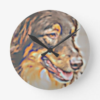 Australian Shepherd Cartoon Round Clock