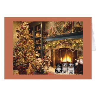 Australian Shepherd Christmas Card Fireplace