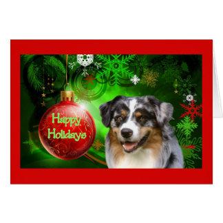 Australian Shepherd Christmas Card Happy Holidays