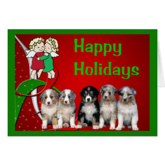 Australian Shepherd Christmas Card Little Angels