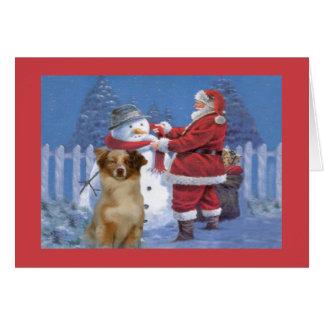 Australian Shepherd Christmas Card Santa and Snowm