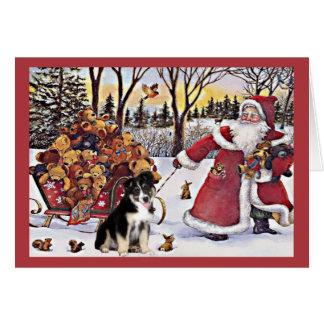 Australian Shepherd Christmas Card Santa Bears In