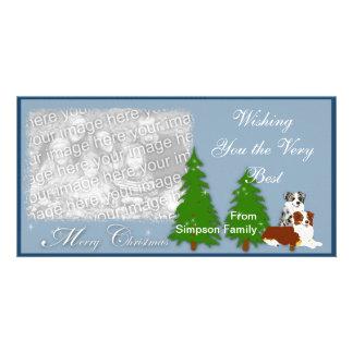 Australian Shepherd Christmas Customized Photo Card