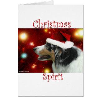 Australian Shepherd Christmas Spirit Card