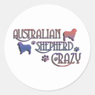 AUSTRALIAN SHEPHERD CRAZY ROUND STICKER